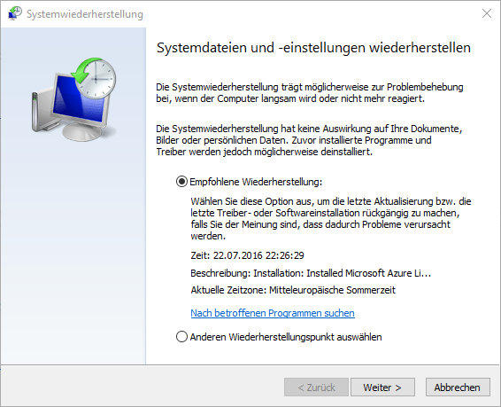 Windows Systemwiedeherstellung